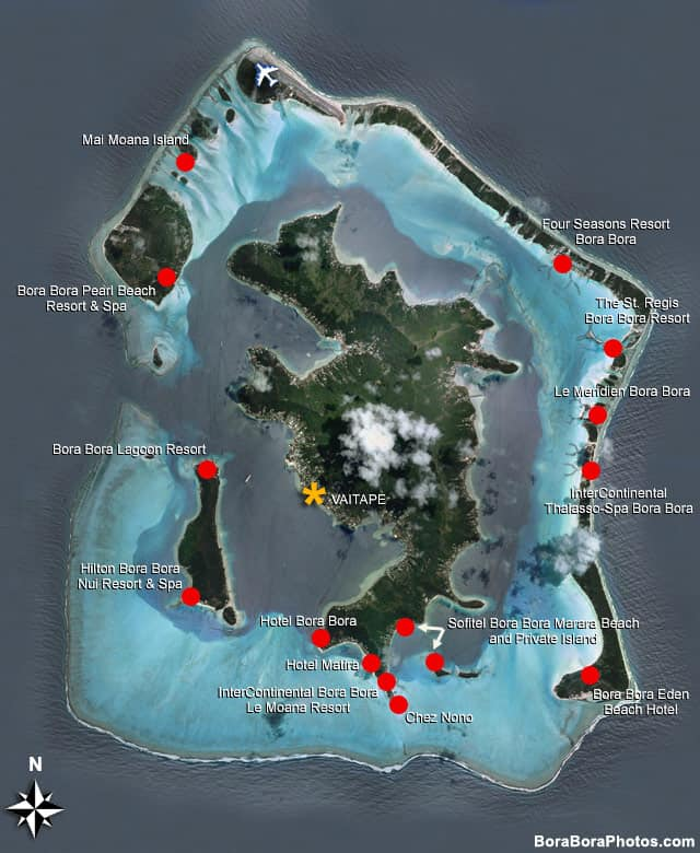 Bora Bora Hotel Map showing the locations of all the major resorts | boraboraphotos.com