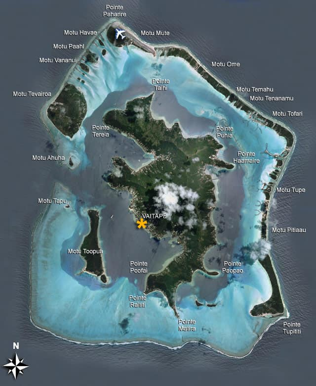 Bora Bora Map - See an Aerial View of the Island in French Polynesia