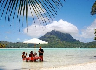 Eating Lunch in Bora Bora