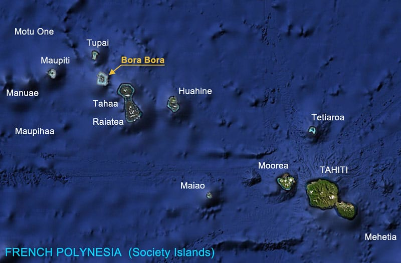 Where is Bora Bora? Map showing the islands of French Polynesia | boraboraphotos.com
