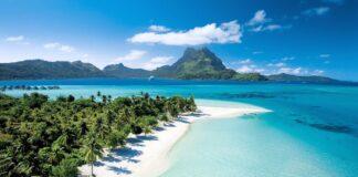 Beautiful White Sand Beach in Bora Bora