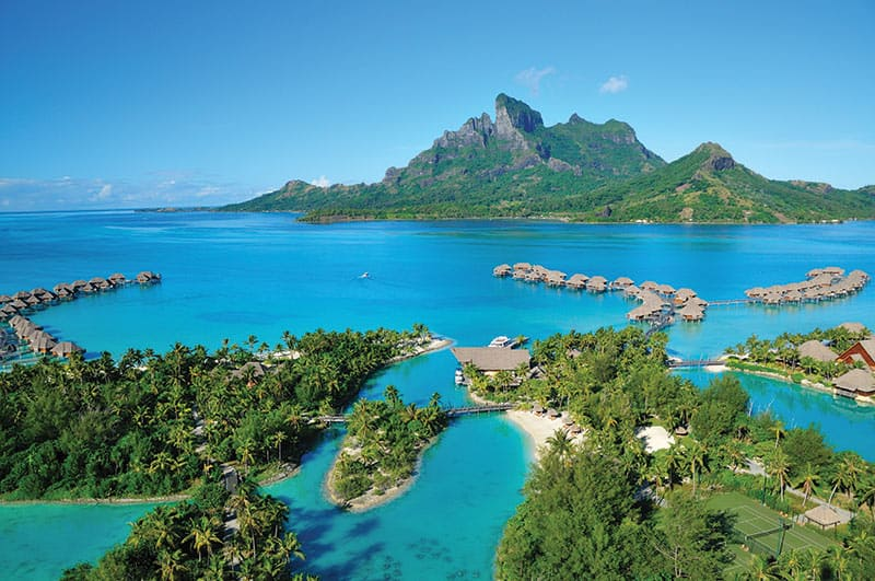 Four Seasons Resort Bora Bora aerial view over the property