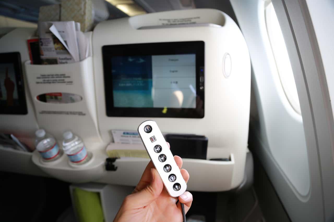 In-flight entertainment remote control