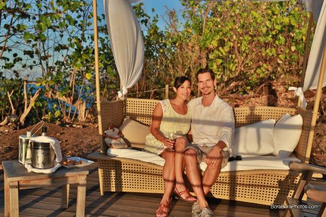 Sofitel Sunset & Champagne Jason & Jessica on a bench | boraboraphotos.com