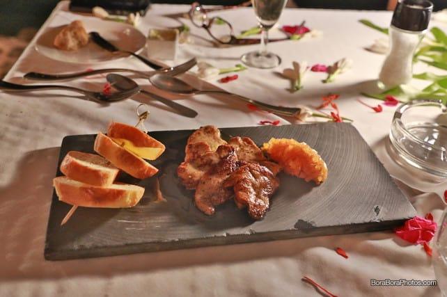 romantic dinner menu foie gras | boraboraphotos.com