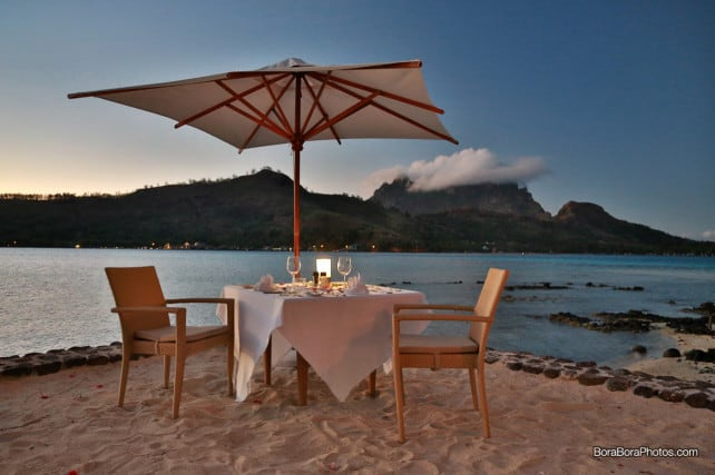 Sofitel romantic dinner for two dinner table with mount otemanu view | boraboraphotos.com