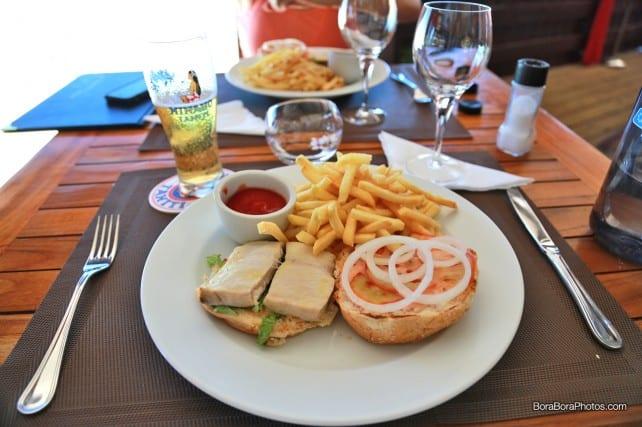 Mahi Mahi burger at Matira Beach restaurant | boraboraphotos.com