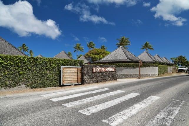Hotel Matira front entrance along the island road | BoraBoraPhotos.com