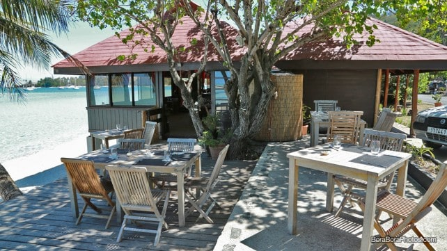Restaurant located steps from the sand Matira point beach Bora Bora location | boraboraphotos.com