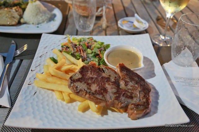Bora Bora Yacht Club rib-eye steak and french fries | boraboraphotos.com
