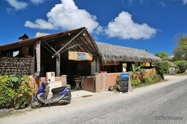 Front entrance to the Fare Manuia Restaurant Bora Bora | boraboraphotos.com