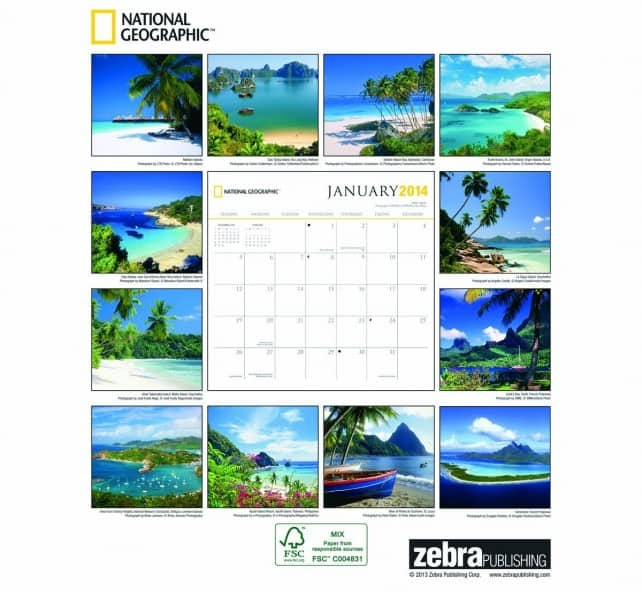 island 2014 calendar of Bora Bora | boraboraphotos.com
