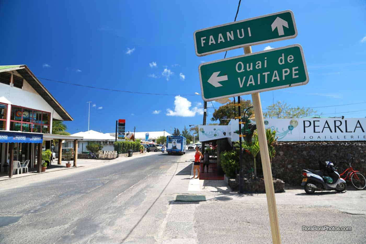 Getting Around Bora Bora Island - Transportation information on how to navigate from the resorts to the main town of Vaitape via taxi service, car, scooter or bike rentals.