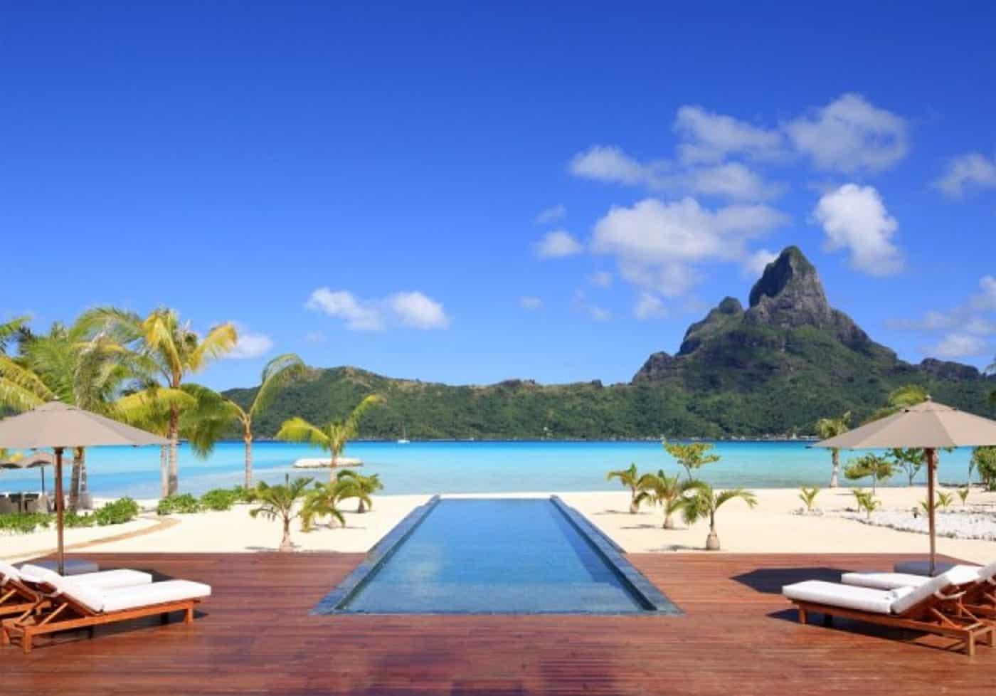 Incredible view of the pool and Mt Otemanu from Bora Bora One Resort | boraboraphotos.com
