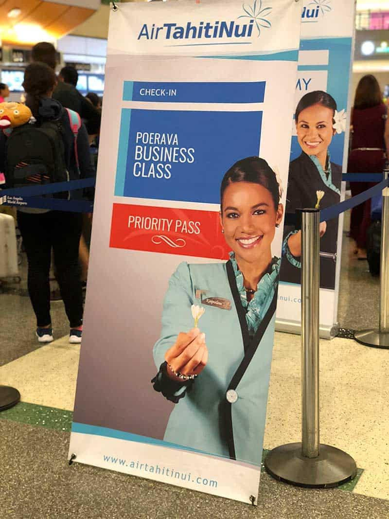 Air Tahiti Nui flight check in lines at LAX