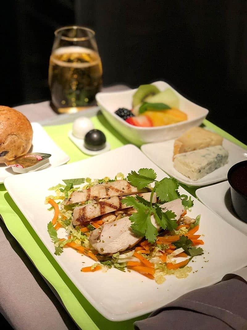 Evening dinner on Air Tahiti Nui flight
