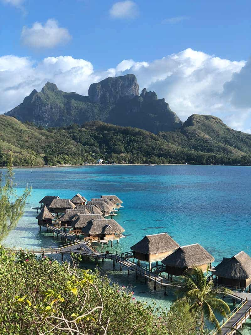 sofitel private island over water bungalows with mt otemanu in the background